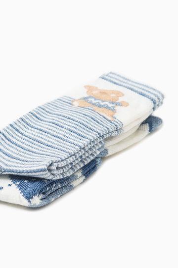 Set due paia di calze lunghe fantasia, Bianco/Blu, hi-res