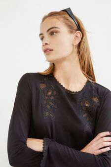 Stretch viscose T-shirt with openwork inserts, Black, hi-res