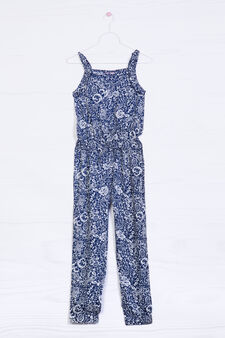 Patterned playsuit in 100% viscose, White, hi-res