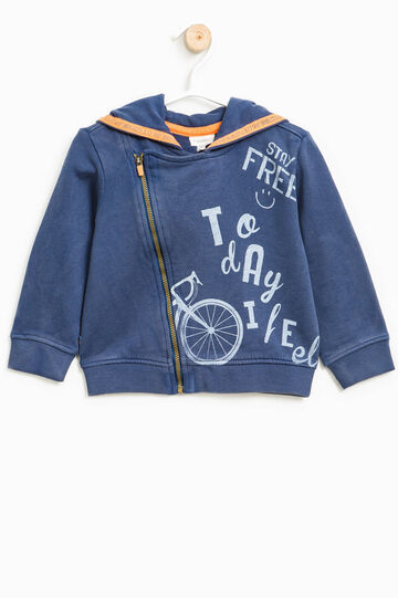 100% cotton printed sweatshirt, Navy Blue, hi-res