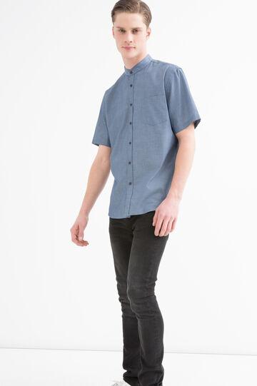 Camicia misto cotone collo coreana, Blu, hi-res