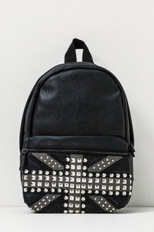 Solid colour backpack with studs, Black, hi-res
