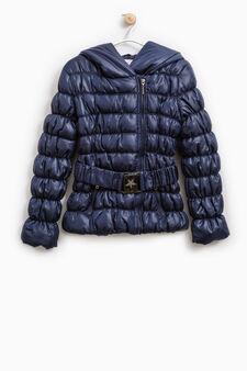 Jacket with hood and belt, Blue, hi-res