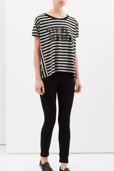 Oversize stripe T-shirt in viscose blend, Black/Grey, hi-res