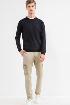 Stretch cotton cargo-cut chinos, Green, hi-res