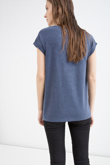 100% cotton T-shirt with print, Navy Blue, hi-res