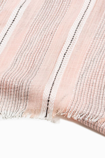 Striped scarf with lurex, Pink, hi-res