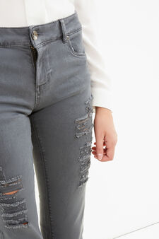 Solid colour stretch jeans with rips, Grey, hi-res