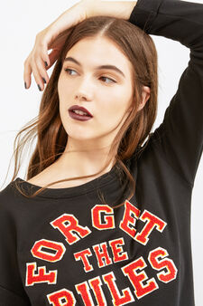 Long sweatshirt with coloured patches, Black, hi-res