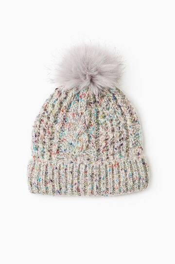 Beanie cap with pompom, Light Grey, hi-res