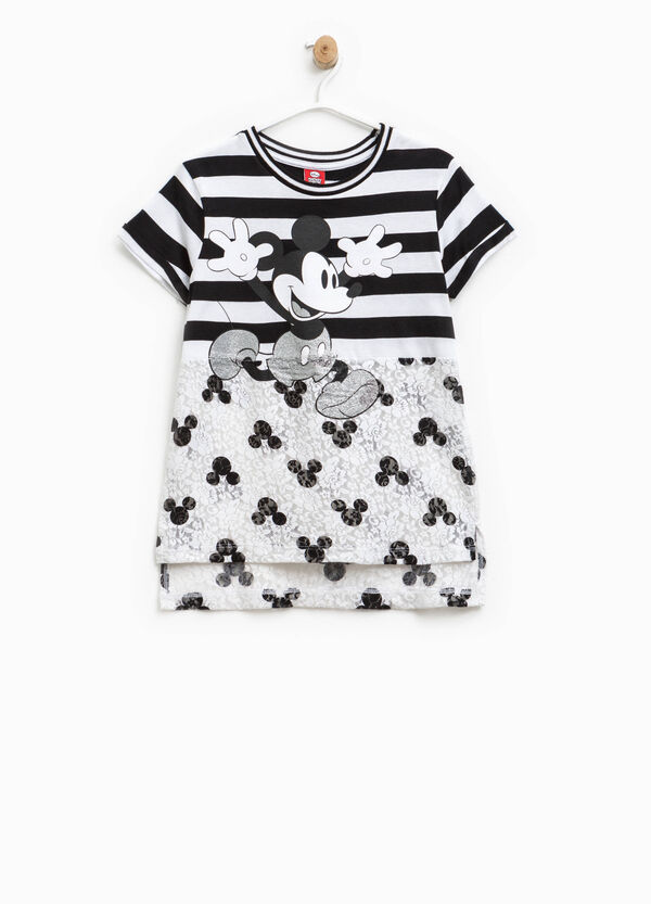 Mickey Mouse patterned T-shirt with lace | OVS