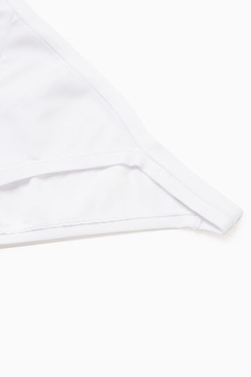 Plain stretch cotton tanga briefs, White, hi-res