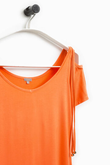 Smart Basic T-shirt with ties, Orange, hi-res