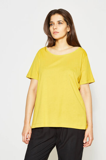 Curvy cotton T-shirt with crew neck