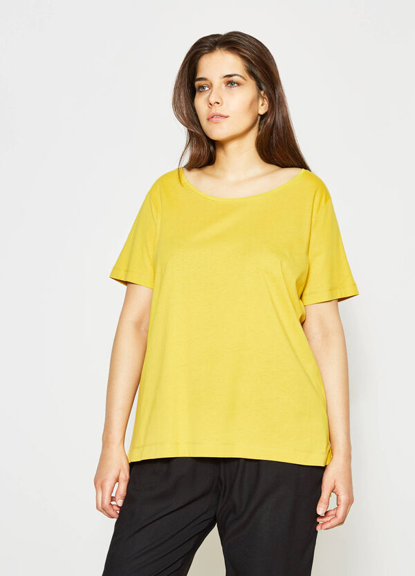 Curvy cotton T-shirt with crew neck | OVS