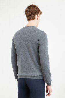 Solid colour cashmere and silk pullover, Slate Grey, hi-res