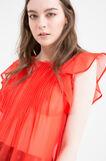 Blusa semitrasparente plissettata, Arancione, hi-res