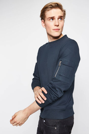 Cotton blend sweatshirt with small pockets, Blue, hi-res