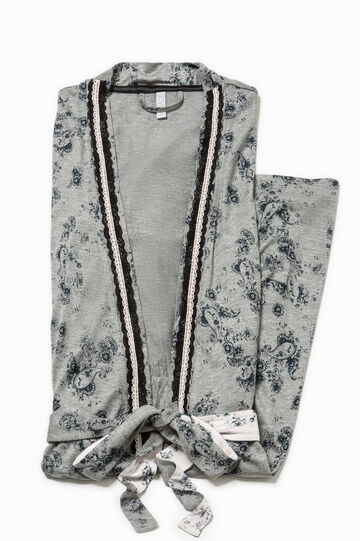 Floral dressing gown with trim