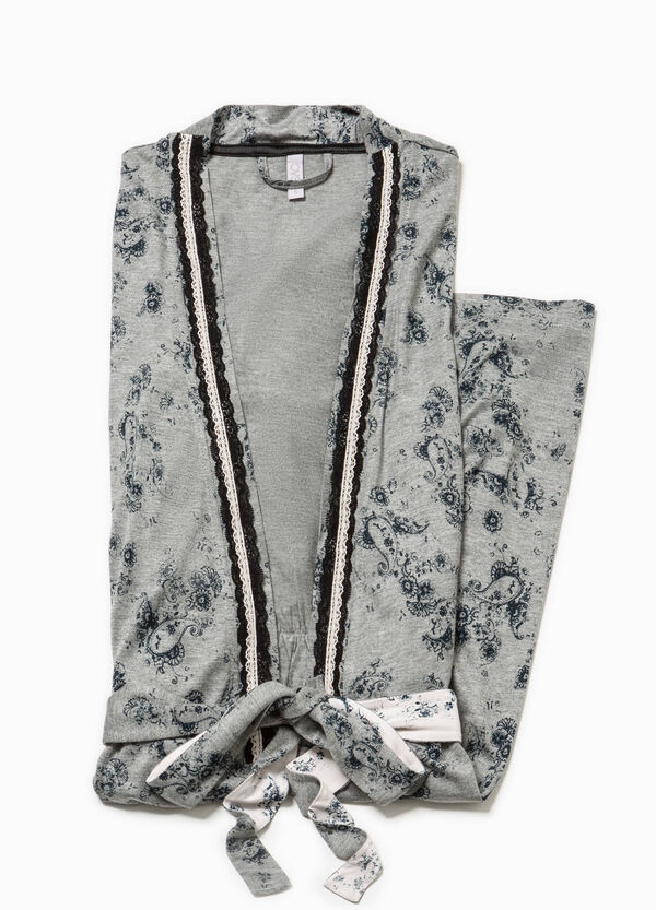 Floral dressing gown with trim | OVS