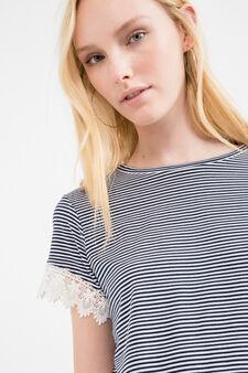 T-shirt crop viscosa stretch fantasia, Blu navy, hi-res