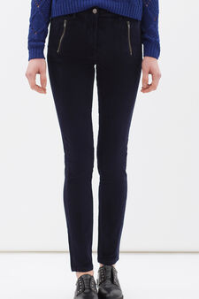 Stretch cotton trousers with zip, Navy Blue, hi-res