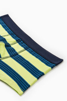 Two-pack stretch boxer shorts striped and solid colour, Blue/Green, hi-res