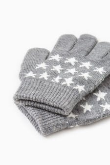 Solid colour gloves with embroidery, Dark Grey, hi-res