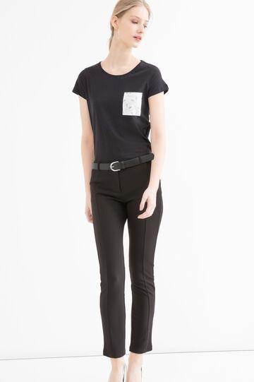 T-shirt puro cotone taschino, Nero, hi-res