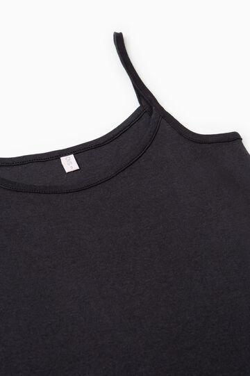 Solid colour cotton under top, Black, hi-res