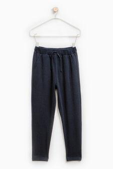 Gym pants with embossed weave, Dark Blue, hi-res