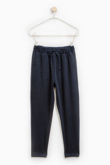 Pantaloni tuta trama in rilievo, Blu scuro, hi-res