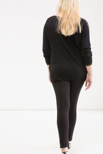 Leggings stretch con strass Curvy, Nero, hi-res