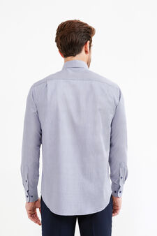 Regular-fit formal shirt with hounds' tooth pattern, Blue/Grey, hi-res