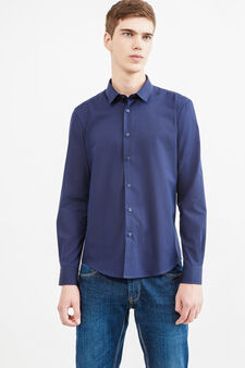 Casual cotton shirt with micro-stripe pattern, Dark Blue, hi-res