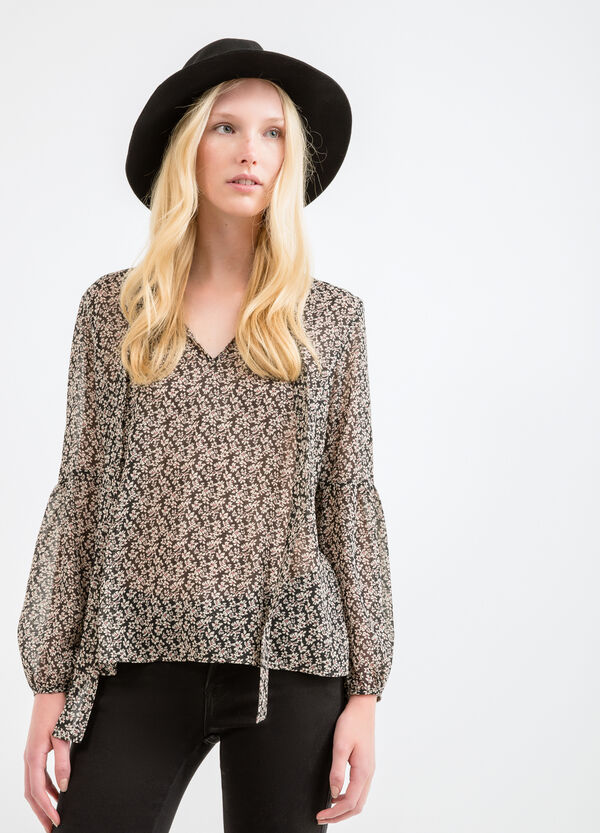 Blouse with tie and all-over print | OVS
