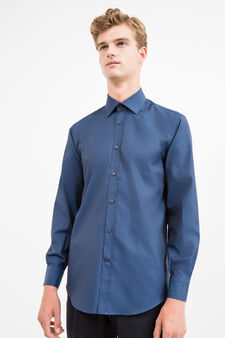 Regular-fit formal shirt in 100% cotton, Dark Blue, hi-res