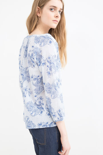 Patterned blouse in 100% cotton, White, hi-res