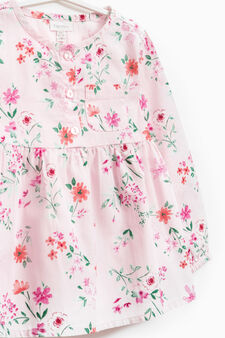 Cotton shirt with floral pattern, Pink, hi-res