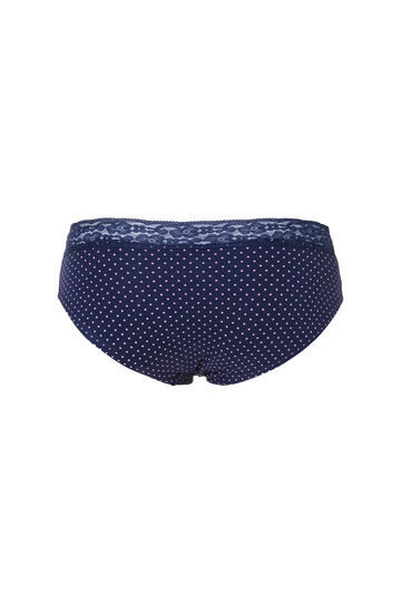 Stretch cotton, polka dot briefs with lace, Blue, hi-res