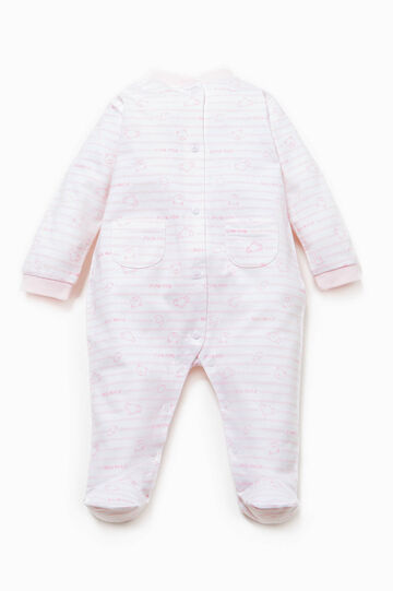 Striped cotton onesie with feet, White/Pink, hi-res