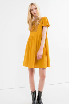 Short viscose dress with pleated skirt, Ochre Yellow, hi-res