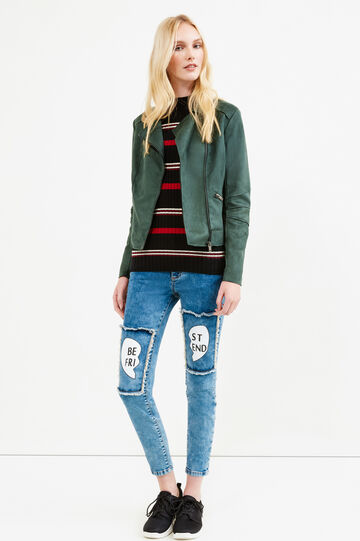 Suede look cropped jacket, Dark Green, hi-res