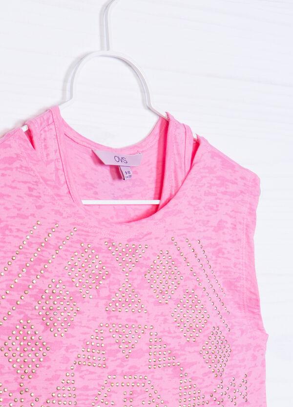 Cotton blend T-shirt with diamantés | OVS
