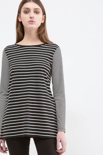 T-shirt stretch fantasia righe, Nero/Bianco, hi-res