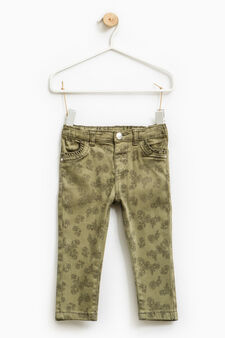 Stretch jeans with floral print, Green, hi-res