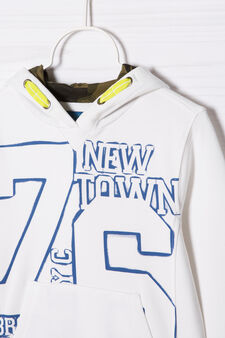 100% cotton sweatshirt with printed lettering, Cream White, hi-res