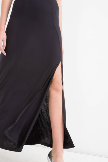 100% viscose long skirt, Black, hi-res