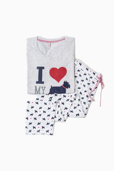 Printed cotton pyjamas, Light Grey, hi-res