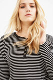 Curvy striped T-shirt in 100% cotton, White/Black, hi-res